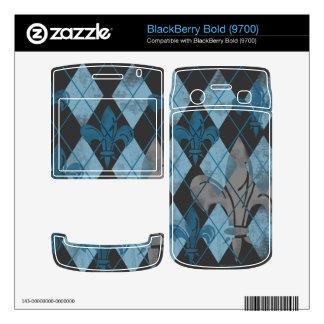 Blue Argyle Fleur de lis Skins Decals For BlackBerry