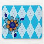 Blue Argyle & Flower Mousepads