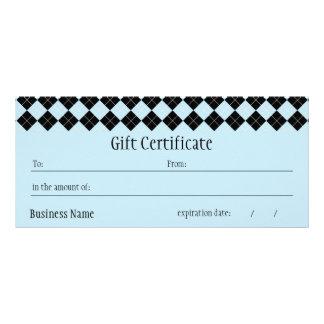 Blue Argyle Gift Certificate Rack Card