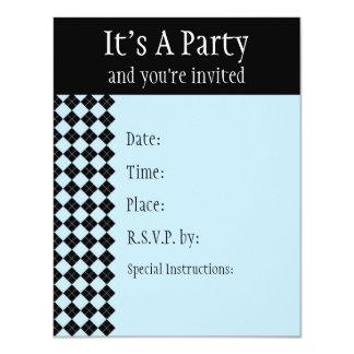 Blue Argyle Invitation