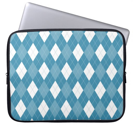 Blue Argyle Laptop Sleeve