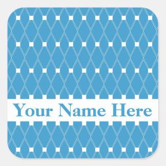 Blue Argyle Lattice with monogram Square Sticker