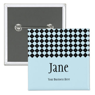 Blue Argyle Name Badge Button