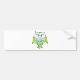 Blue Argyle Owl Bumper Sticker