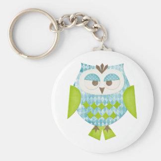 Blue Argyle Owl Key Chain