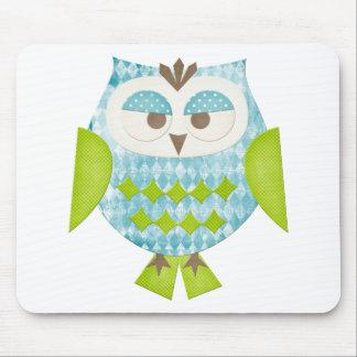 Blue Argyle Owl Mouse Pad