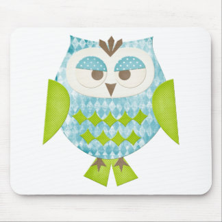 Blue Argyle Owl Mouse Pad