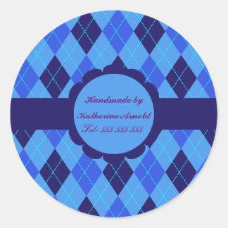 Blue Argyle pattern handmade by stickers