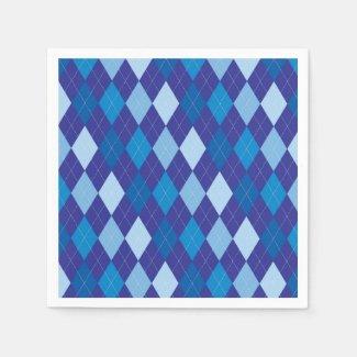Blue argyle pattern napkin