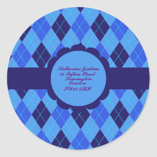 Blue Argyle pattern personalised address stickers