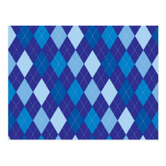 Blue argyle pattern postcard