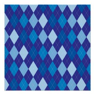 Blue argyle pattern poster