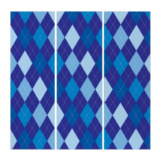 Blue argyle pattern triptych