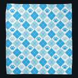 """Blue Argyle Paw Print Pattern Bandana<br><div class=""""desc"""">Show off your love of animals with this cute paw print themed bandana. This item displays a blue argyle paw print pattern. Maybe you&#39;re searching for a special gift for an animal lover in your life? This product is a great gift for cat owners, dog owners, veterinarians, vet techs, veterinary...</div>"""