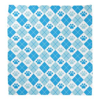 Blue Argyle Paw Print Pattern Bandana