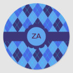 Blue argyle personalised initial A Z stickers
