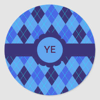 Blue argyle personalised initial E Y stickers