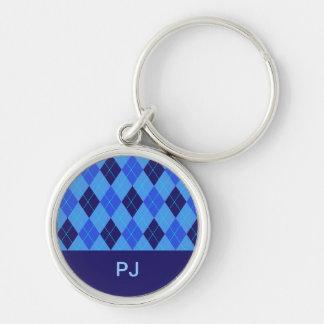 Blue argyle personalised initial J P keychain