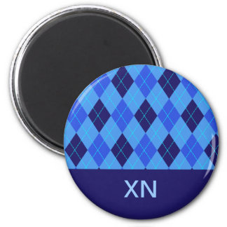 Blue argyle personalised initial N X magnet