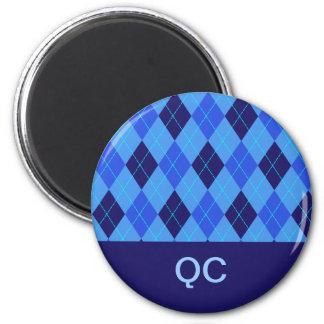 Blue argyle personalised initial Q C magnet