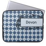 Blue Argyle Personalized Laptop Bag 15 Inch Computer Sleeve