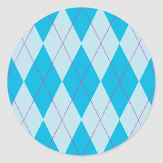 Blue Argyle Stickers