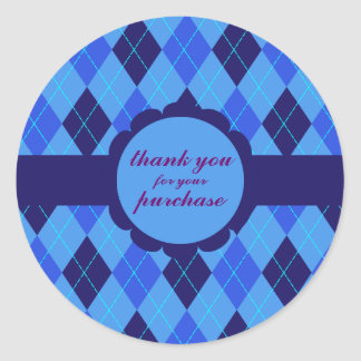 Blue Argyle thank you for your purchase stickers