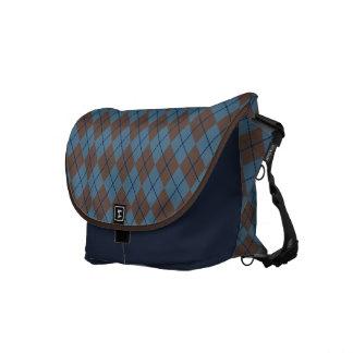 Blue Argyle Travel Messenger Bag