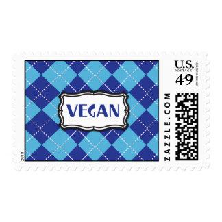 Blue Argyle Vegan Pride Postage