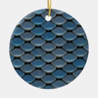 Blue Armor Geometric Pattern Ceramic Ornament