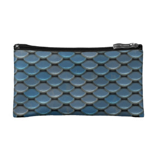 Blue Armor Geometric Pattern Cosmetic Bag