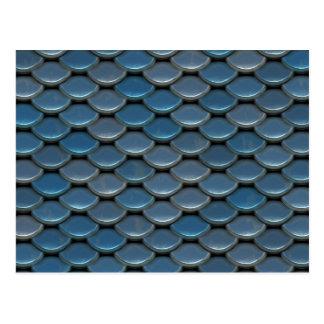 Blue Armor Geometric Pattern Postcard