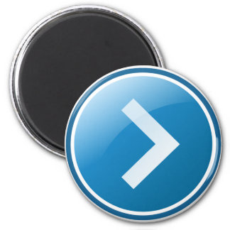 Blue Arrow Button - Right 2 Inch Round Magnet