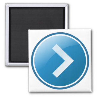 Blue Arrow Button - Right 2 Inch Square Magnet