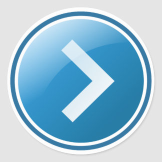 Blue Arrow Button - Right Classic Round Sticker