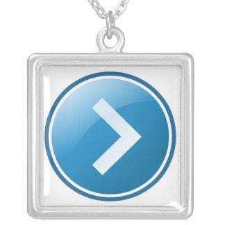 Blue Arrow Button - Right Custom Necklace