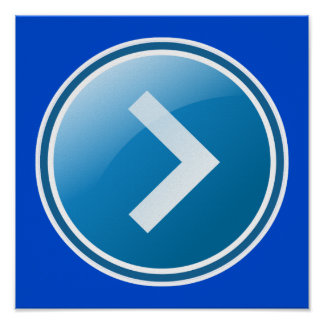 Blue Arrow Button - Right Poster