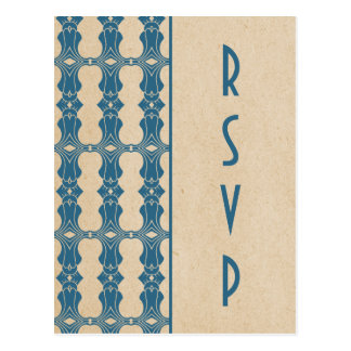 Blue Art Deco Border RSVP Postcard