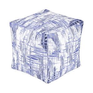Blue Art Deco Cube Pouf