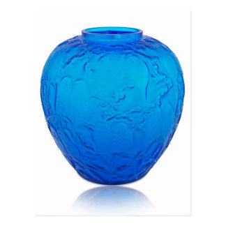 Blue Art Deco glass vase with birds. Postcard