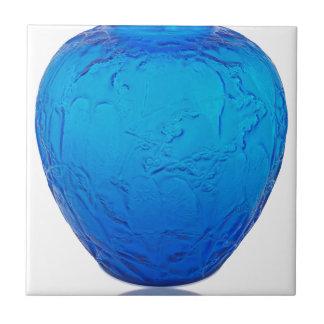 Blue Art Deco glass vase with birds. Tile