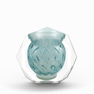 Blue Art Deco glass vase with etched design. Award