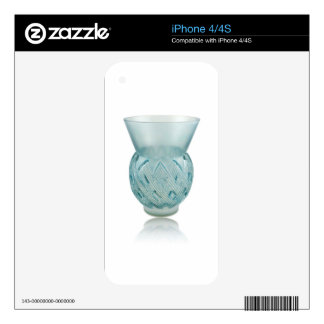 Blue Art Deco glass vase with etched design. Decal For The iPhone 4S