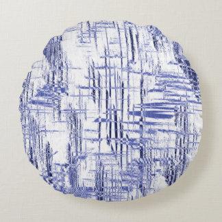 Blue Art Deco Round Pillow