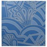 Blue Art Deco Style Design. Printed Napkins