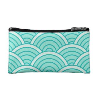 Blue art deco wave pattern modern make up bag