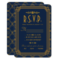 Blue Art Deco Wedding RSVP Cards
