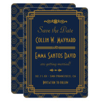 Blue Art Deco Wedding Save The Date Invitation