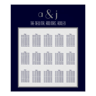 Blue Art Deco Wedding Seating Chart 150