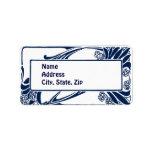 Blue art nouveau address label